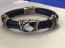ERIC GROSSBARDT Leather 18K & STERLING SILVER Bracelet MINT