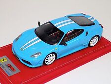 1/18 Looksmart Ferrari F430 Scuderia Baby Blue White stripe / White Alcantara