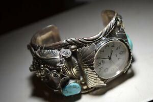 M.Thomas Jr. Sterling Navajo Native Watch Bracelet Cuff Bear Spirit Guide