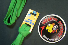"Green Thin Flat 54"" x (3/8""-5/8"") JN Shoelaces Shoe Strings Piranha Records"