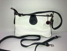 VERA PELLE Leather Crossbody Bag White/Black Made In Italy
