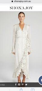 Shona Joy Womens Wrap Dress Polka Dot Maxi Size 12