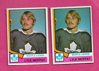 2 X 1974-75 OPC # 379 LEAFS LYLE MOFFAT ROOKIE  CARD (INV# C3736)