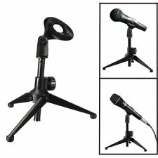 Table Microphone Tripod Stand Adjustable Metal Desktop Mic Clamp Clip Holder MIR