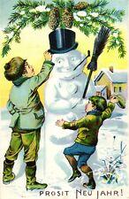 Neujahr, Kinder mit Schneemann, Farb-Litho, 1909