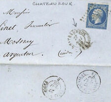 AY25 1859 France * CHATEAUROUX * cachet postal CLASSIQUE Napoléon question Cover Mosnay pts