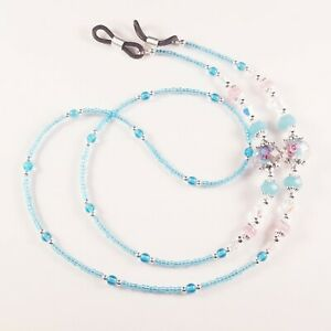Beaded Eyeglass or Sunglass Chain Holder~Turquoise Blue & Pink Flowers~Crystal