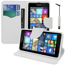 Housse Etui Portefeuille BLANC PU Effet Tissu Microsoft Nokia Lumia 535/ Dual
