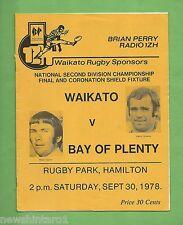 #Tt. Rugby Union Program - 30Th September 1978, Waikato Vs Bay Of Plenty