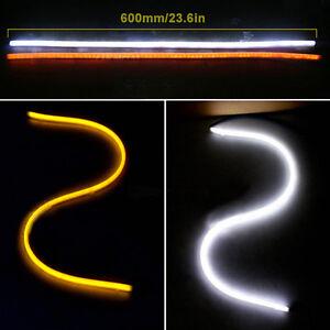 2x 60CM Car LED Knight Strip Light For Headlight Flasher Amber Turn Signal Light