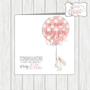 Personalised Congratulations On Your New Baby Girl Card Vintage Rabbit & Balloon