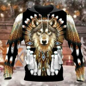Native American Wolf V1 3D Hoodie Mothers Day Gift Custom Printed
