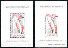 Monaco 1994, 2 LUXE S/S, perf + imp, Soccer World Cup, football, MNH! CV 300 €!