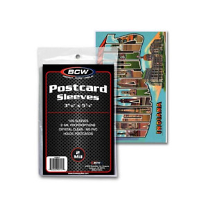 (Pack of 100) BCW Standard Size Postcard Sleeves Archival Quality No PVC 2 Mil