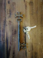 More details for  maltese cross key, large,7.48 inch,solid brass,church monastery warded key