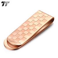 UNIQUE TT Rose Gold GP Stainless Steel MONEY CLIP  MC09Z NEW