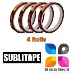 4 Rolls HEAT RESISTANT Tape Sublimation Press Transfer SUBLITAPE 10mm x 33m