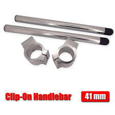 CNC 41mm Clip-on Handlebar 7 Degree For Universal Motorcycle A Pair All Silver