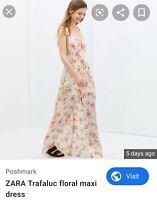 Zara Trafulac Long Floral Cream Silky Maxi Dress Sz S