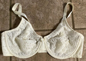 Wacoal Sz 38D Stretch Light Yellow W/ Lace Accents Full Coverage Br
