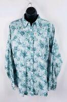 Ariat Women's Pearl Snap Longsleeve Paisley Green Blouse Size XL 100% Cotton