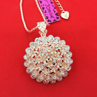 Betsey Johnson Clear Crystal Rhinestone Flower Pendant Sweater Chain Necklace