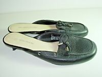 WOMENS BLACK LEATHER CLOGS MULES CAREER COMFORT HIGH HEELS SHOES SIZE 8 M