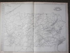 1922 LARGE MAP ~ PENNSYLVANIA MILEAGE ~ RAILROADS PRINCIPAL CITIES