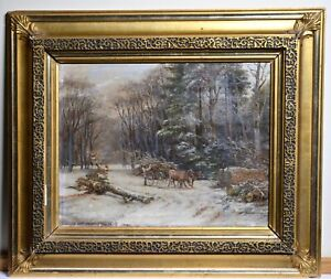 Winter Forest Logging Scene late 19C Antique Oil Painting Unsigned Master