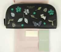 Radley Herbarium Zip Matinee Purse Wallet Black Leather Large New