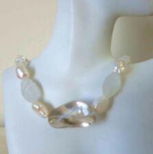 "Vintage Art Deco Dreamy Artisan Pearls Crystal Quartz Sterling Necklace  18"""