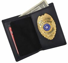 Genuine Leather Slim Bifold Police Security Ofiicer Cop Badge ID  Holder Wallet