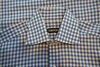 Tom Ford White Sky Blue Gingham Spread Collar Cotton Dress Shirt Sz 15.5