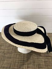 VTG JOSEPH MAGNIN WHITE WOVEN HAT W/NAVY TRIM WOMENS BRIMMED HAT~SUMMER HAT