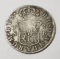 COLONIAL SILVER COIN SEVILLA 1825 JB 2 REALES FERNANDO VII 2R 5.82g SCARCE MINT