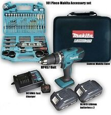 Makita 18v Li-ion Cordless Hammer Combi Drill Complete Kit & Makita 101 Bit Set