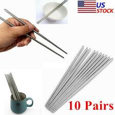 10 Pairs Stainless Steel Reusable Chopsticks Metal Korean Chinese Chop Sticks US