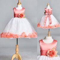 NEW Coral Rose Petal Tulle Dress Flower Girl Recital Easter Recital Pageant #22