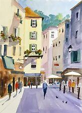 """La Francia, Estate, Provenza, ORIGINALE acquerelli, da Susan Shaw, montato 20X16"""""""