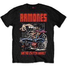 Ramones Logo We're Outta Here Official Punk Rock Music Black Mens T-shirt