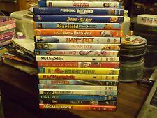 (20) Childrens Animal DVD Lot: Disney Finding Nemo Garfield Happy Feet NIMH MORE