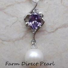 """Genuine White Round Pearl Sapphire Pendant Necklace 18"""" Cultured Freshwater"""