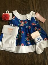 NWT Gymboree Baby Girl coral blue foral dress SUMMER 4-piece bow sock SET 6 9 12