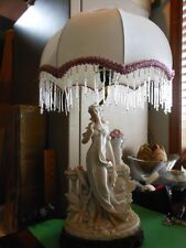 Victorian Style Lamp with Victorian Lady and Beaded Fring on Shade