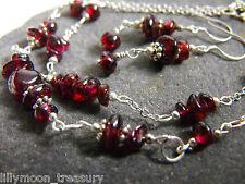 GARNET & ONYX gemstone bracelet earrings necklace handcrafted chips style2-3