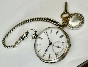 Antique 1869 JW Benson Stg Silver O/F K/Wind Pocket Watch On Stg Chain & Fob IWO