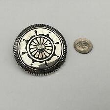 Vintage Native American Sterling Silver Navajo Wilson Padilla Wheel Brooch!