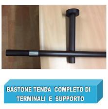 BASTONE PER TENDA LEGNO WENGE' CM 150 VERNICIATO OPACO C/ATTACCHI E TERMINALE
