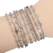 9 Pcs/Lots Mixed Wholesale Stainless Steel Women Charm Chain Bracelets Bangle