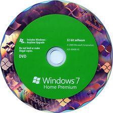 Windows 7 Édition Familiale Premium Authentique SP1 32 bit Version complète DVD et Clé de produit COA
